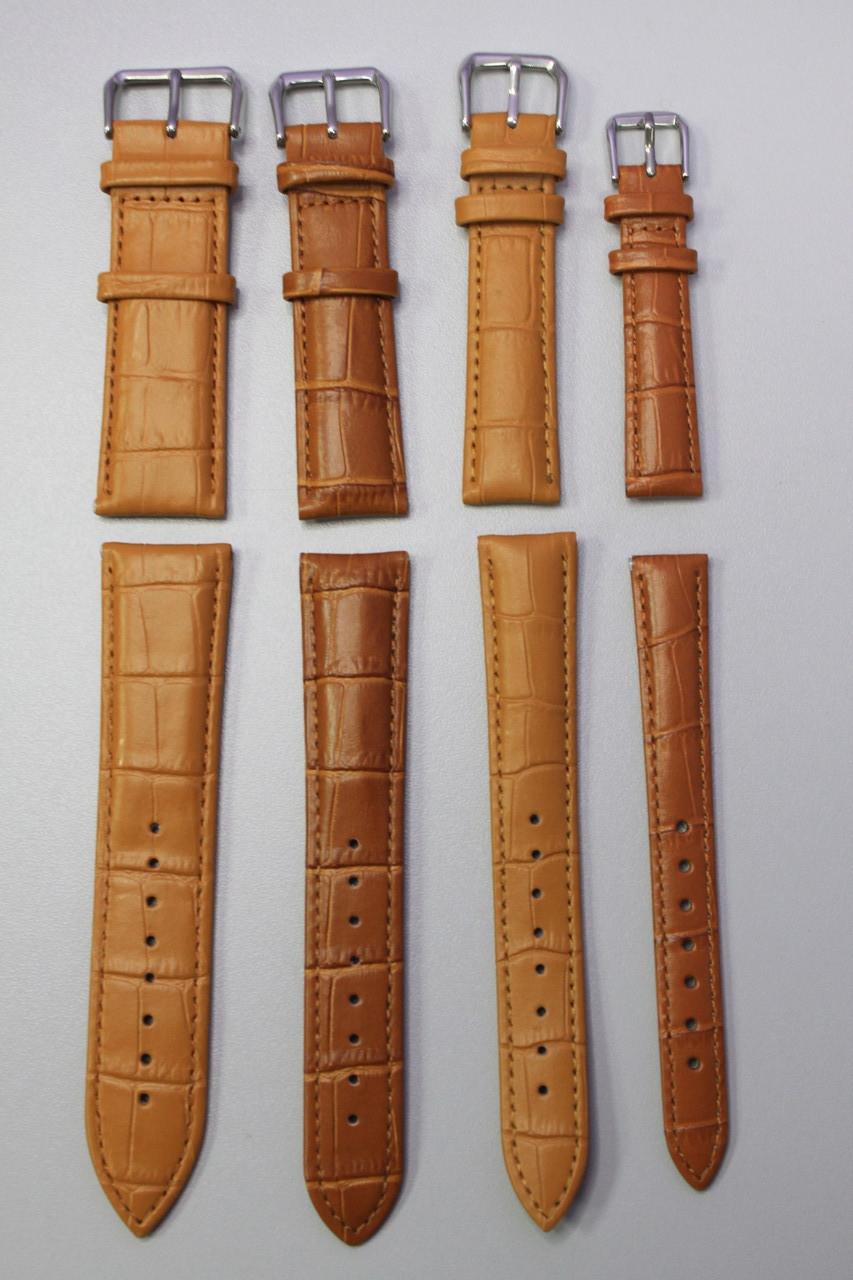 Кожаный ремешок для наручных часов, смарт часов текстура кожа крокодила 1 шт светло коричневый