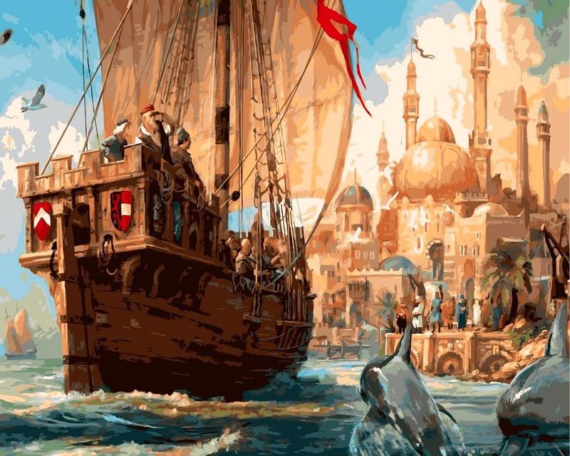 Картина по номерам 40×50 см. Babylon Купеческий корабль у гавани восточного города (VP-321)