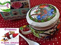 """Кружка заварочная Заварник керамический для чая с ситечком и ложкой """"Павлин"""""""