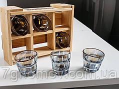 Набор 6 пьяных голографических стопок в деревянном ящике арт. DG 014.00036