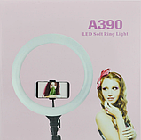 Кольцевая LED лампа 38 см A390 с пультом | Светодиодная селфи лампа  + Штатив В Подарок, фото 9