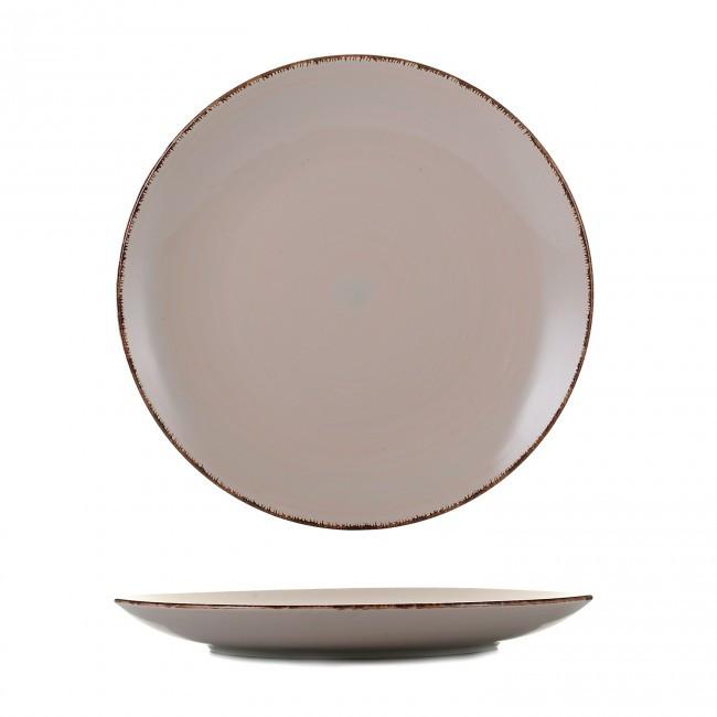 Тарелка круглая керамическая мелкая Глазурь пудра 267мм.