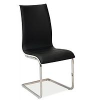 Кухонный стул Signal H-133 черно-белого цвета на изогнутом каркасе из экокожи модерн