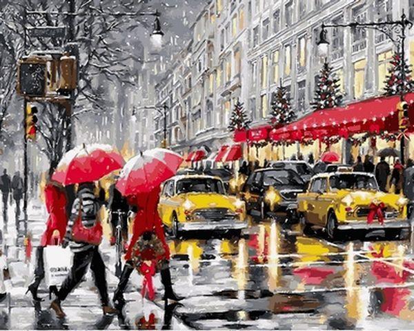 Картина по номерам 40×50 см. Babylon Рождественские покупки Нью-Йорк Художник Ричард Макнейл (VP 780)