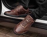 Мужские коричневые кроссовки из натуральной кожи, чоловічі коричневі кросівки з натуральної шкіри, фото 4