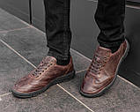 Мужские коричневые кроссовки из натуральной кожи, чоловічі коричневі кросівки з натуральної шкіри, фото 2
