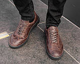Мужские коричневые кроссовки из натуральной кожи, чоловічі коричневі кросівки з натуральної шкіри, фото 3