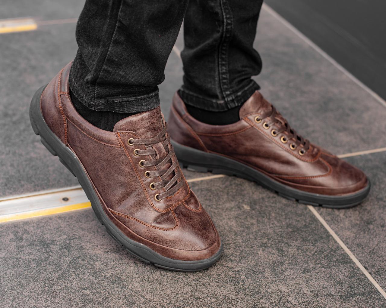 Мужские коричневые кроссовки из натуральной кожи, чоловічі коричневі кросівки з натуральної шкіри