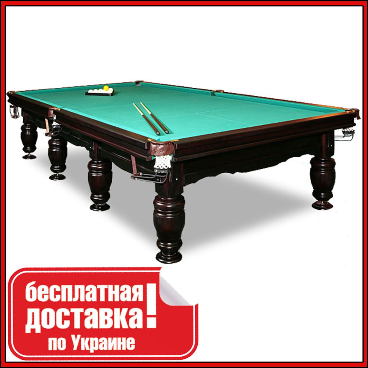 Бильярдный стол Ферзь Плюс снукер 12 футов Ардезия 3.6 м х 1.8 м из натурального дерева