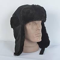 Стильная мужская шапка на зиму с искусственным мехом мутона