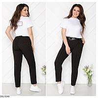 Деловые батальные женские брюки коттон с поясом размеры 48-54 арт. 5081