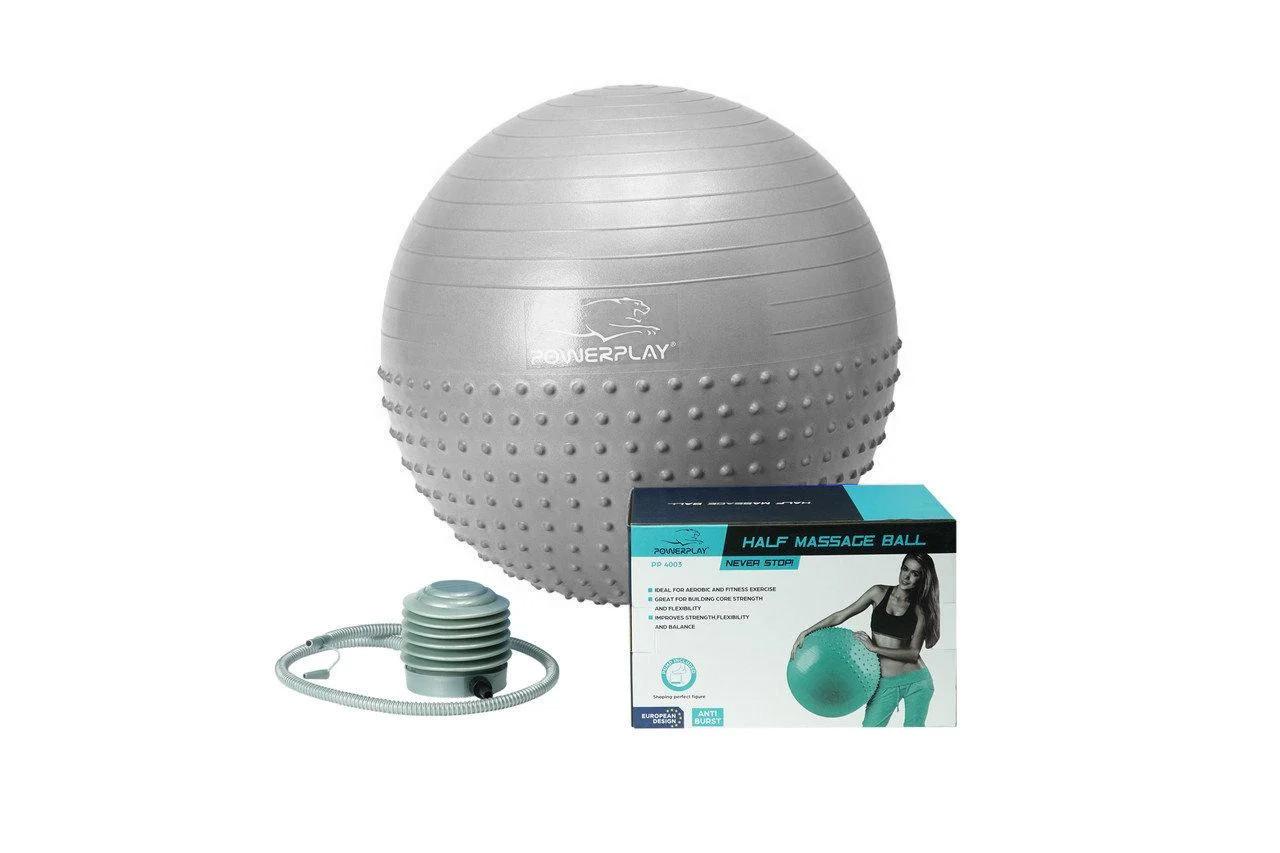 М'яч для фітнесу PowerPlay 4003 65 см Сірий