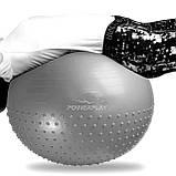 М'яч для фітнесу PowerPlay 4003 65 см Сірий, фото 2