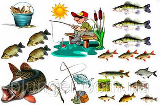 """Вафельна картинка для кондитерських виробів """"Рибалка"""", (лист А4) 12"""