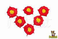 Цветы Розы Красные из фоамирана (латекса) 3 см 10 шт/уп
