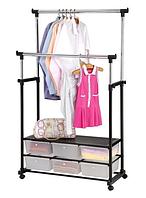 Напольная вешалка-стойка Double Pole Clothersrack, двойная телескопическая для одежды