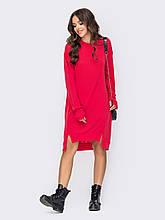 Комфортное трикотажное платье в стиле oversize c удлиненной спинкой