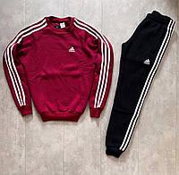 Спортивный костюм ЗИМНИЙ мужской Adidas до -25*С (Адидас) на флисе бордовый | теплый | Комплект на зиму ЛЮКС
