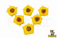 Цветы Розы Желтые из фоамирана (латекса) 3 см 9 шт/уп