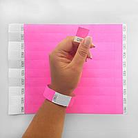 Контрольные бумажные браслеты на руку неоновые с логотипом для клуба Tyvek 3/4 (19 мм) Neon Pink, фото 1