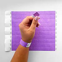 Сиреневый контрольный бумажный браслет на руку неоновые под печать логотипа для клуба Tyvek 19 мм, фото 1