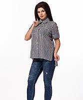 Женская летняя рубашка в клетку черно-белая
