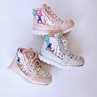 Ботинки девочкам, р. 24, 25, 26, 28. Демисезонные утепленные серебристые осенние ботиночки малышкам., фото 10