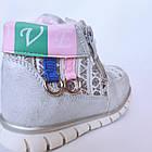 Ботинки девочкам, р. 24, 25, 26, 28. Демисезонные утепленные серебристые осенние ботиночки малышкам., фото 7