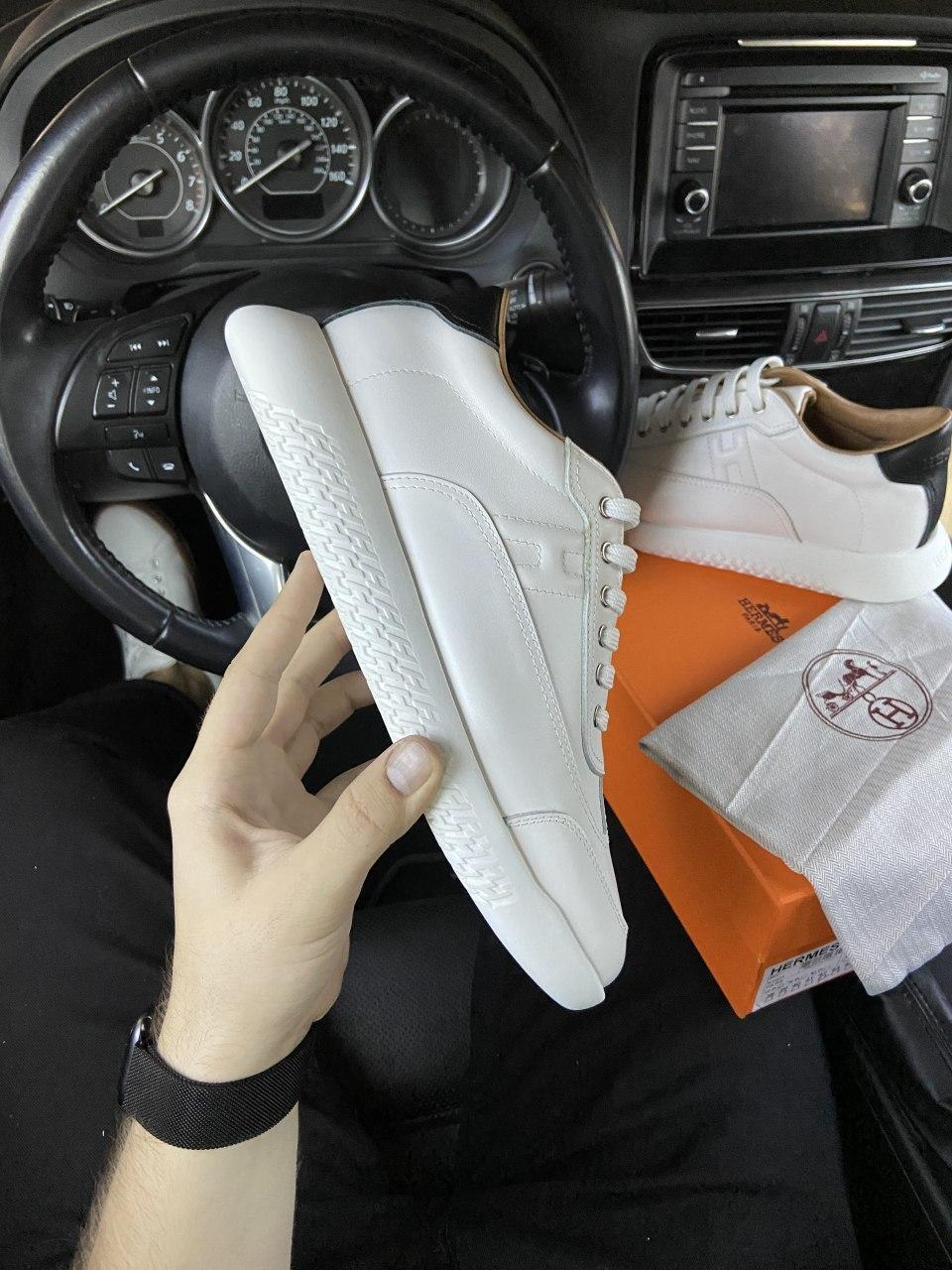 Мужские кроссовки Hermes Shoes White / Гермес Шуз Белые