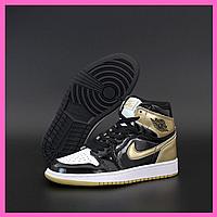 Женские кроссовки Nike Air Jordan 1 Retro High Black Bronze White Черный Бронзовый Белый Разноцветные