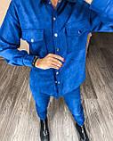 Женский крутой замшевый прогулочный костюм рубашка и брюки замш на дайвинге бежевый, беж, серый, электрик, фото 2