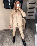 Женский крутой замшевый прогулочный костюм рубашка и брюки замш на дайвинге бежевый, беж, серый, электрик, фото 5