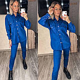 Женский крутой замшевый прогулочный костюм рубашка и брюки замш на дайвинге бежевый, беж, серый, электрик, фото 9