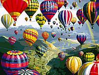 Алмазная мозаика на подрамнике квадратные камни Воздушные шары в небе 40 х 50 см (арт. TN942)