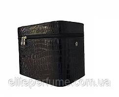 Бьюти кейс крокодил чемодан для косметики чёрный высокий