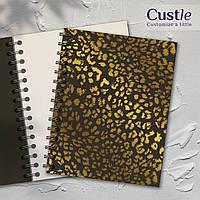 """Блокнот для рисования, скетчбук коричневый, декорированный золотом с белой бумагой """"LEOPARD"""""""