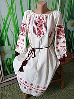 Сукня льон+лавсан машинна вишивка L Класика 3/4. 014