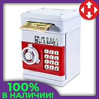 Распродажа! Сейф-копилка для детей детская (Красно-белый корпус, круглая белая ручка, белые кнопки), фото 1