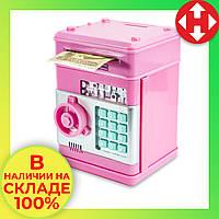 Копилка для детей музыкальная (розовый корпус, круглая розовая ручка, бирюзовые кнопки) детский игрушечный сейф, фото 1