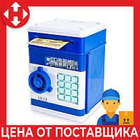 Распродажа! Детский сейф (синий корпус, круглая синяя ручка, бирюзовые кнопки) копилка детская с кодом , фото 1