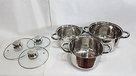 Набір каструль з індукційним дном UNIQUE UN-5031 для всіх плит 6 предметів (3в1 нержавіюча сталь 2.1-3.9 л)