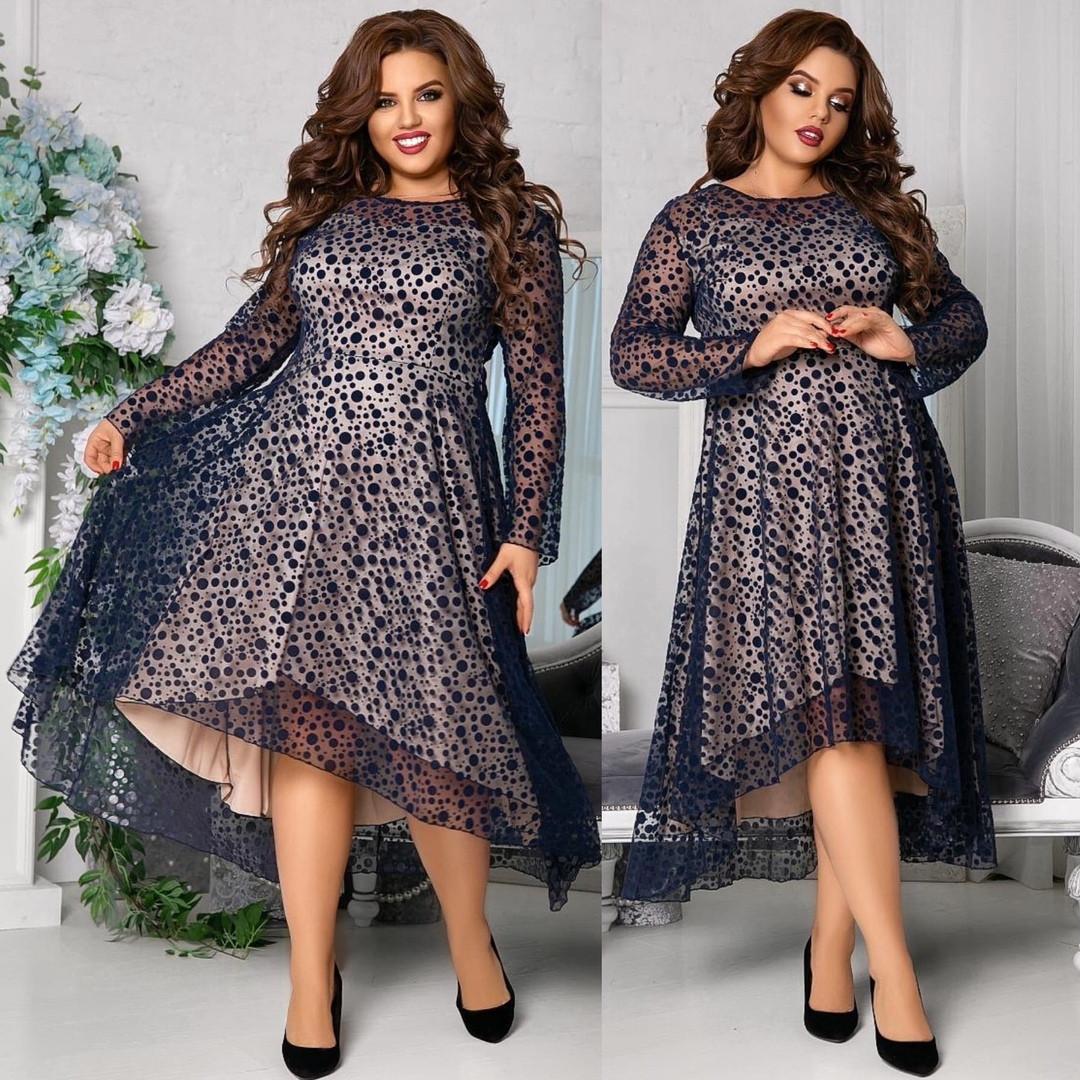 Женское красивое платье на выход свободного фасона трикотаж+флок размер: 48-50, 52-54, 56-58,60-62