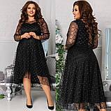 Женское красивое платье на выход свободного фасона трикотаж+флок размер: 48-50, 52-54, 56-58,60-62, фото 3