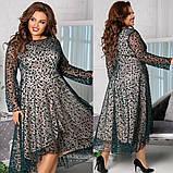 Женское красивое платье на выход свободного фасона трикотаж+флок размер: 48-50, 52-54, 56-58,60-62, фото 2