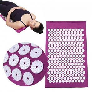 Акупунктурный массажный коврик с подушкой Черный, фото 2