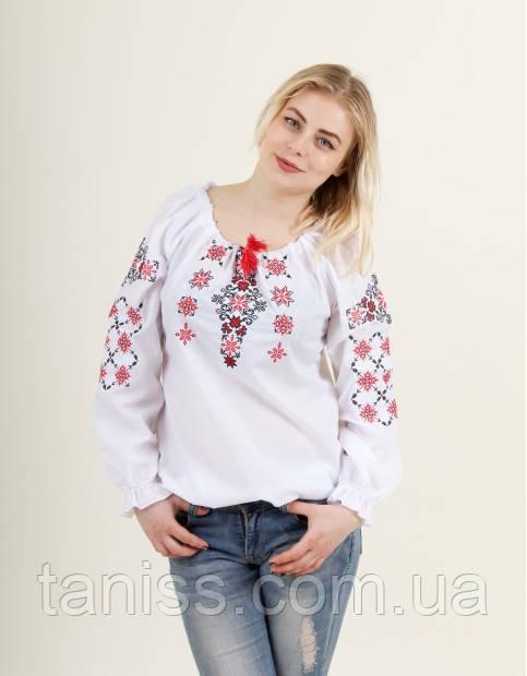 Жіноча блузка - вишиванка Аквамарин, вишивка хрестик р. 44,46,48,50,52 біла з червоним