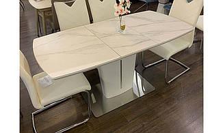 Обеденный стол Адам белая керамика 120/160 от Prestol, рисунок мрамор