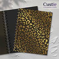 """Блокнот для рисования, скетчбук коричневый с золотым декором с черной бумагой """"LEOPARD"""""""