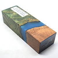 Стабилизированная древесина брусок Сувель ясеня +капо-корень вереска (бриар), гибрид, КРИЛАТ, 138x46x35, фото 1