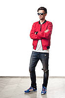 Мужской бомбер красного цвета от Olymp, куртка бомбер на подростка.